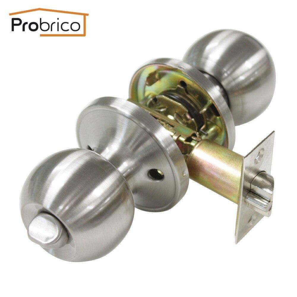 Probrico Keyed Alike Door Lock Stainless Steel Safe Lock Satin Nickel Entrance Locker Door Handle Knob Dl607Snet-Combo