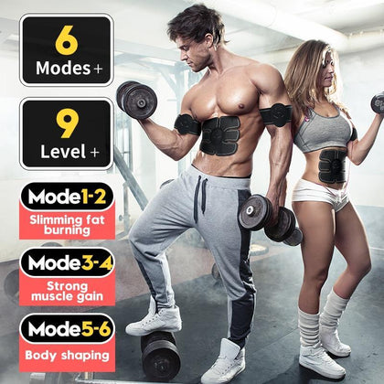 EMS trainer Muscle Stimulator Trainer Smart Fitness Abdominal Training ABS Stimulator Body Slimming Belt Unisex Stickers