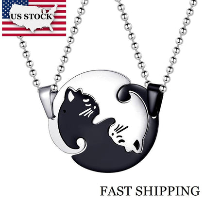 US STOCK Uloveido Halloween Matching Cat Necklaces Pendants for Men and Women Couple Necklace Pendant Stainless Steel SN156