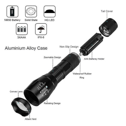 Dropshipping MTB LED Bike Bicycle Light T6 8000LM LED Torch Zoomable Flashlight For Camping Lantern 18650 5000mAh Battery