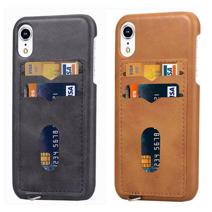 2-layer Business Credit Pocket For iPhone XS XR MAX case Cell Phone ID Card Holder Slim Case for iPhone 7 8 Plus 6s 6 Plus cover