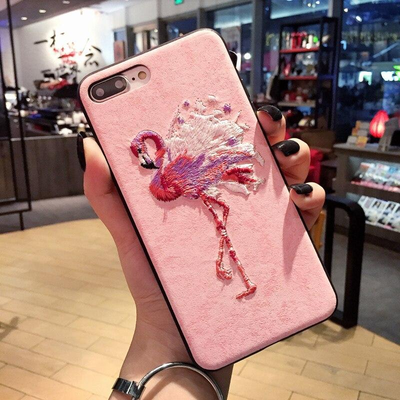 Cute 3D Embroidery Flamingo Elk Deer Soft Leather Pu Case For Iphone 6 S 7 8 Plus X Cover For Samsung Galaxy S8 S9 Note 8 Cases
