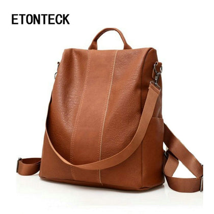 ETONTECK Retro Women Leather Backpack College Preppy School Bag for Student Laptop Girls Ladies Daily Back Pack Shop Trip Travel