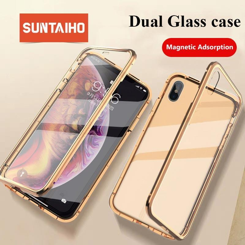 Suntaiho Magnetic Case For Iphone Xs Max Case Xr Dual Tempered Glass Magnet Adsorption Case For Iphone 7 Plus Glass Cover Bumper