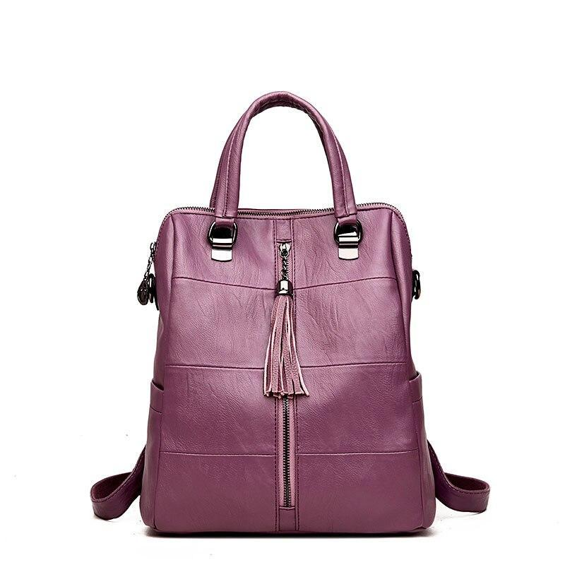 Lanyibaige Women Backpack High Quality Leather Pure Color Backpacks School Bags For Teenagers Girls Backpacks Herald Fashion