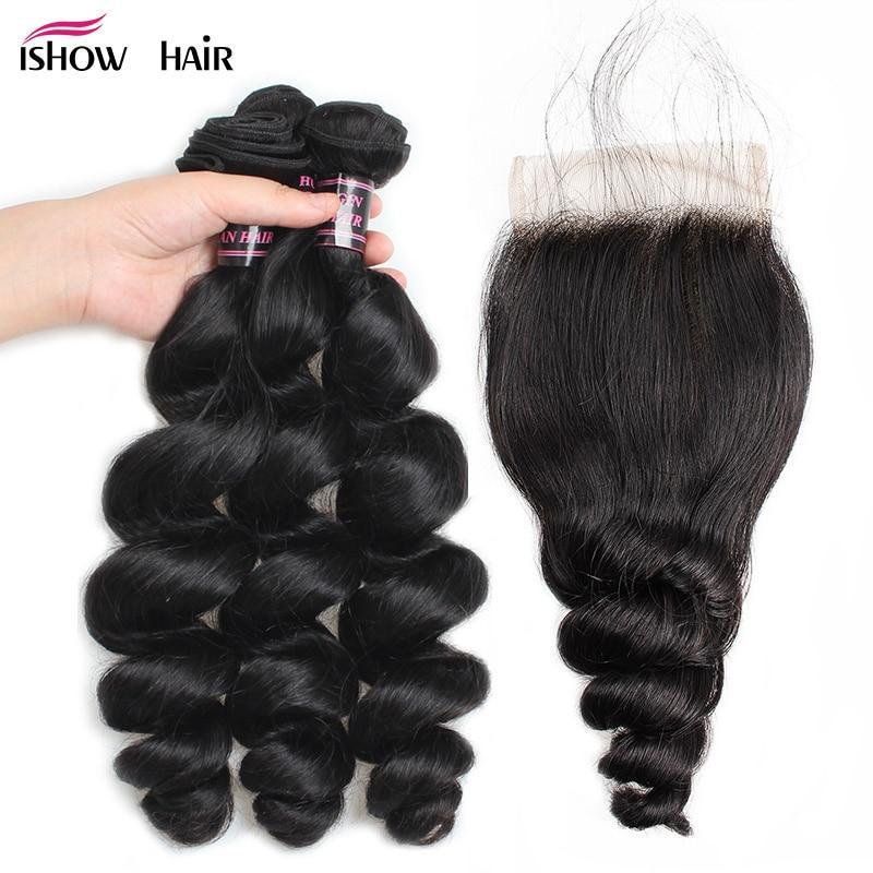 Ishow Hair Brazilian Loose Wave Hair Bundles With Closure 100% Human Hair 3 Bundles With Closure Non Remy Human Hair Extensions