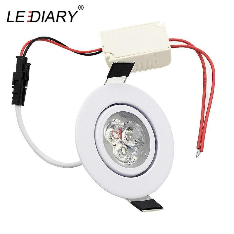 Lediary 110V-220V Led Spot Downlights 3W 55Mm Hole White/Silver/Black Indoor Living Room Down Lights Led Ceiling Recessed Lamp