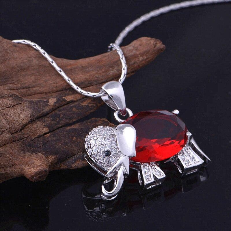 Us Stock Good Luck Red Blue Stone Necklace Women Elephant Necklaces Pendants Vintage Silver Color Collier Chain Uloveido N741