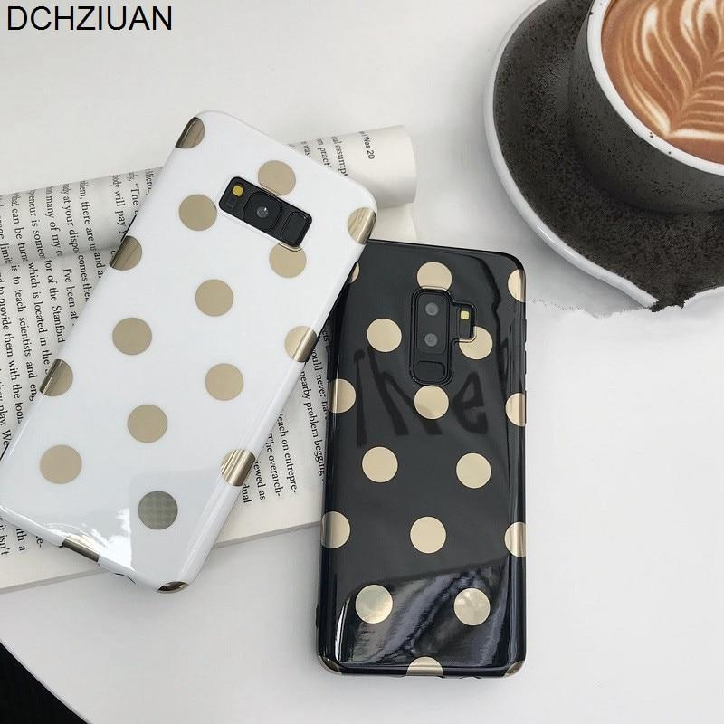 Dchziuan Fashion Gold Polka Dots Phone Case For Samsung Galaxy S8 S9 Plus Note 8 9 Case Soft Silicone Black White Cover Fundas