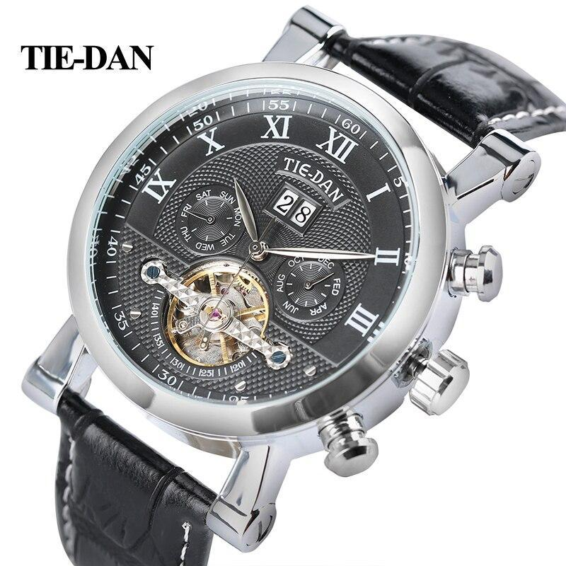 Tiedan Mens Watch Luxury Top Tourbillon Mechanical Clock Male Military Business Self-Winding Wristwatch Genuine Leather Day Hour
