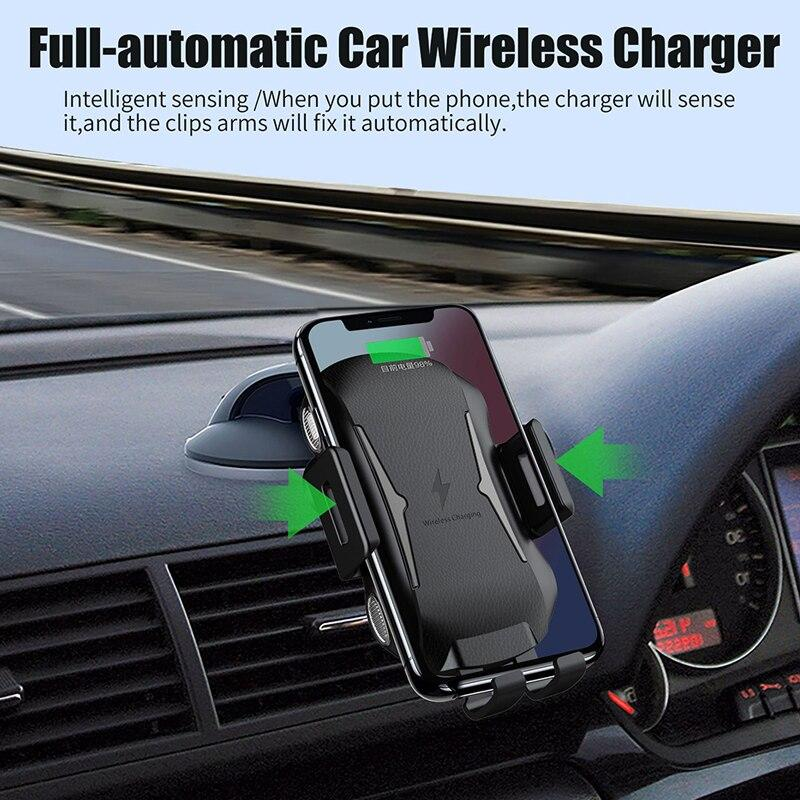 Automatic Car Wireless Charger Stand Bracket For Iphone Xs Max Xr 8 Samsung S9 Note 9 Huawei 10W Car Qi Wireless Fast Charging