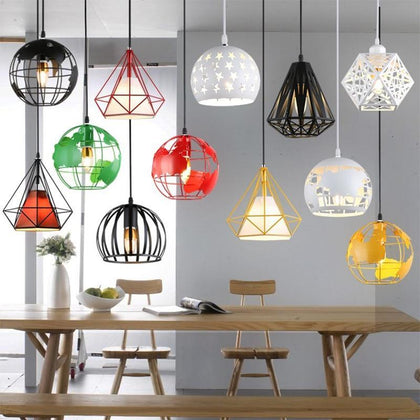 Modern Industrial Cage Pendant Light Earth Pandent Lamp Vintage Iron Hanglamp Diamond Pyramid Bird Loft Lamp Dining Room Kitchen