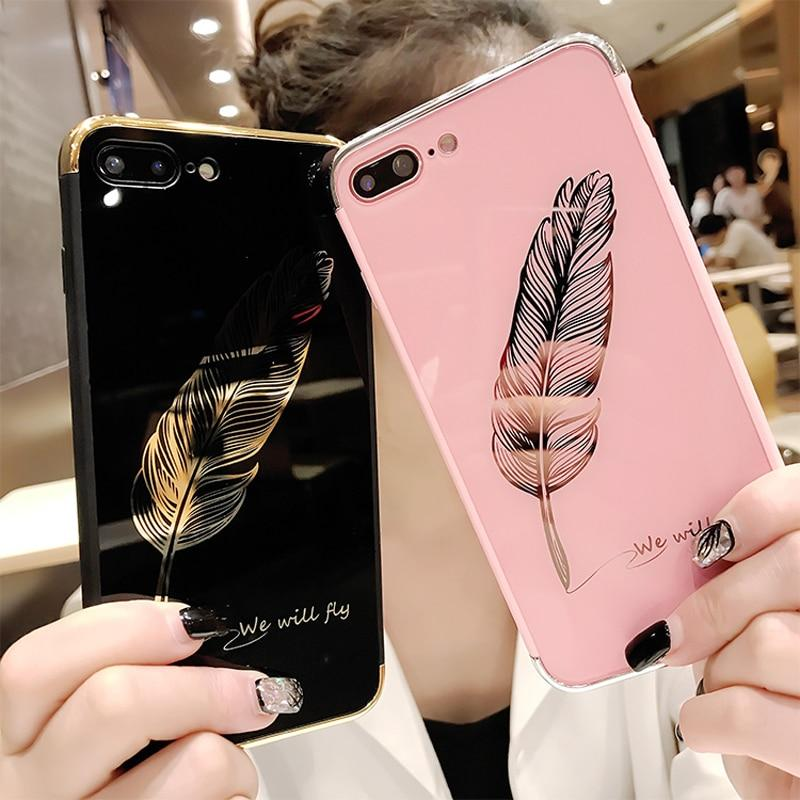 Luxury Quill Pen Drop Mirror Pink Soft Cover Case For Iphone 6 6S S Plus 7 7Plus 8 8Plus X Xs Xr Max Feathers Phone Cases Funda