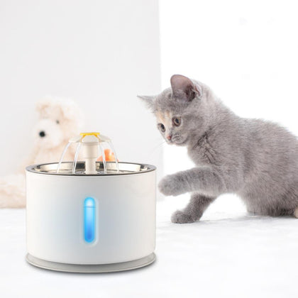 2.4L Automatic Cat Dog Pet Bowl Drinking Water Dispenser Electric Stainless Steel Pet Drinking Fountain With LED Drink Filter