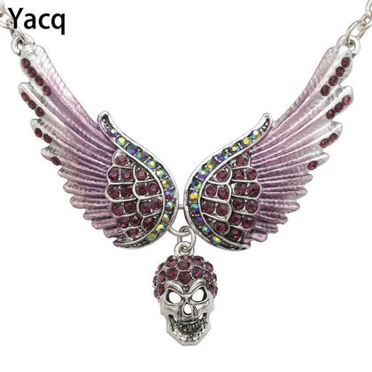 YACQ Angel Wings Skull Choker Necklace Guardian Biker Crystal Goth Jewelry Gift for Women Silver Color NC07 Dropshipping (18+2)