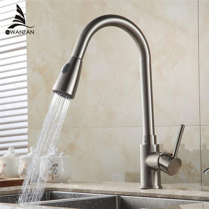 Kitchen Faucets Brass Brushed Nickel 1 Hole Kitchen Sink Faucet Single Lever Pull Out Rotate Spray Deck Mixer Tap Crane 408906SN