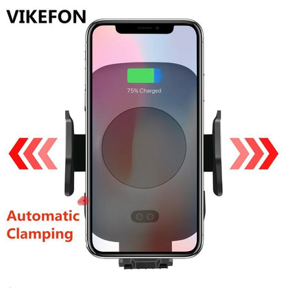10W Qi Car Wireless Charger For iPhone Xs X Samsung S10 S9 Xiaomi Mi Automatic Clamping Fast Wireless Charging Car Phone Holder