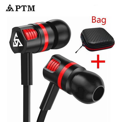 PTM In-ear Earphone Super Bass Stereo Sound Headset Sport Headphones With Mic for Phones Iphone Samsung Xiaomi Ear Phone 3.5mm