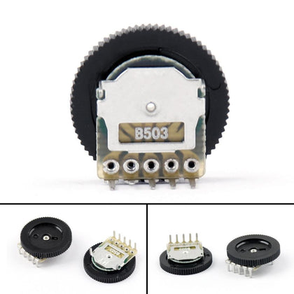 Areyourshop B503 16x2mm 50K Ohm Double Dial Taper Volume Wheel Duplex Potentiometer 5-Pin 5/20 PCS Wholesale Potentiometer