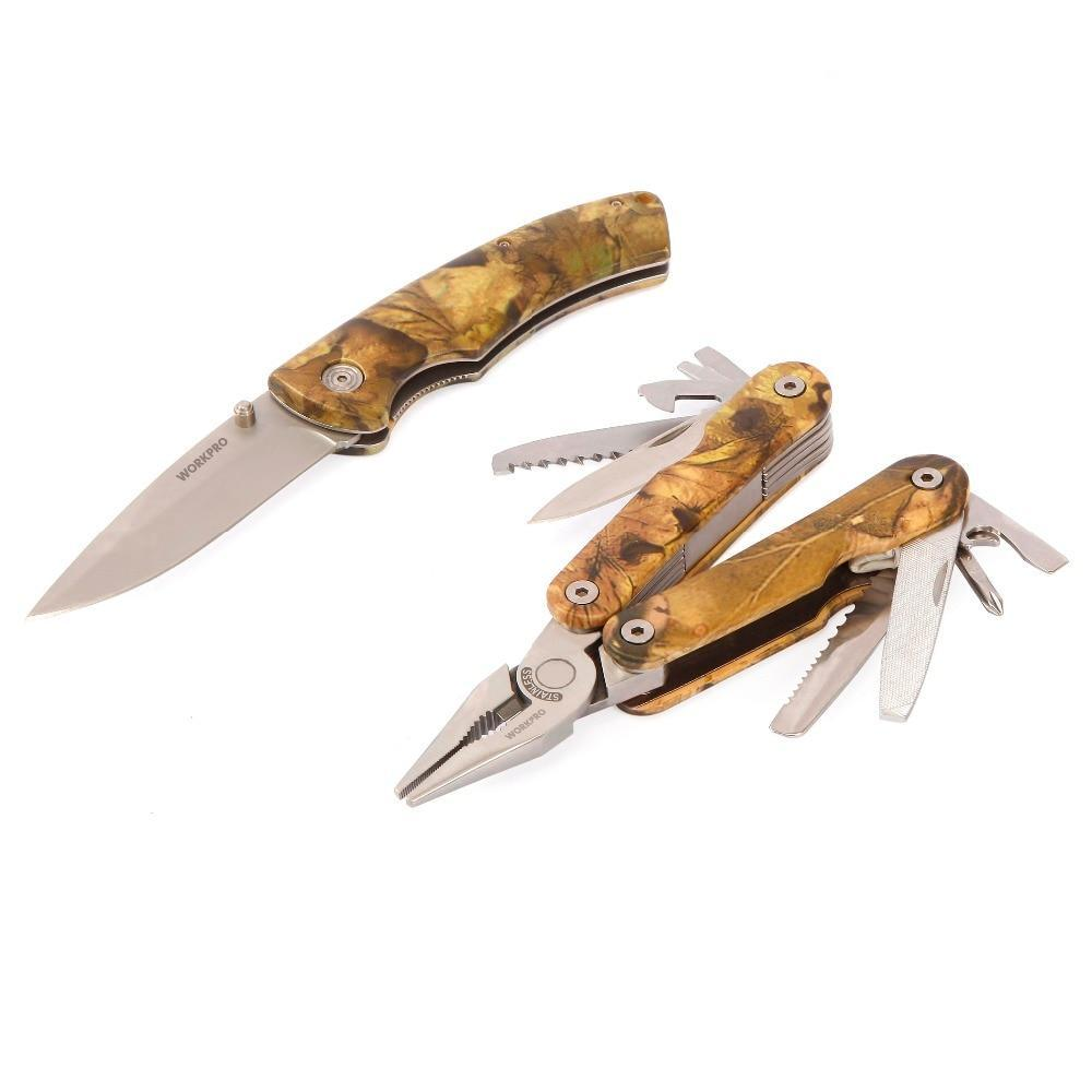 Workpro 2Pc Multi Tools Wire Stripper Crimping Pliers Tactical Knife For Camping Hunting Camouflage Survival Tool Kits