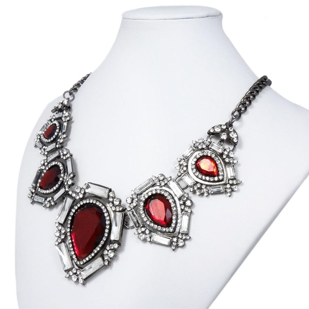 Tuliper Retro Teardrop Choker Necklace Red Austrian Crystal Rhinestone Necklace For Women Party Daily Jewelry Gift Collier (Red)