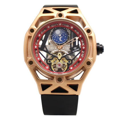 OUYAWEI Men Automatic Mechanical Watch Luxury Brand Tourbillon Wristwatch Male Clock AM/PM Moon Phase Function Relojes Hombre