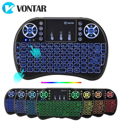 VONTAR i8 + 2.4G Mini Wireless Keyboard 7 colors backlit English Russian Touchpad Handheld Air Mouse for Android TV Box x96 mini