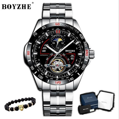 BOYZHE Luxury Men Watch relogio masculino Mechanical Watch men Casual Fashion Waterproof Watch Sports Stainless Steel watch man