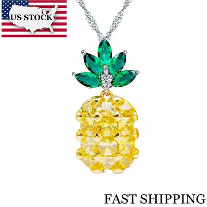 US STOCK Uloveido Cute Pineapple Zircon Necklaces Pendants Necklace Women Suspension Pendant Wedding Jewellery PN001