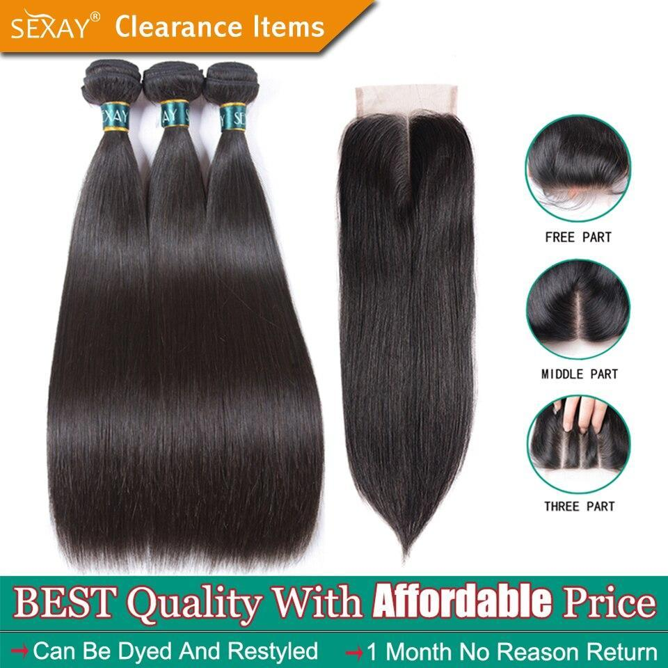 Sexay Brazilian Straight Hair Bundles With Closure Sliky Straight Human Hair 3 Bundles With Closure Brazilian Hair Weave Bundles