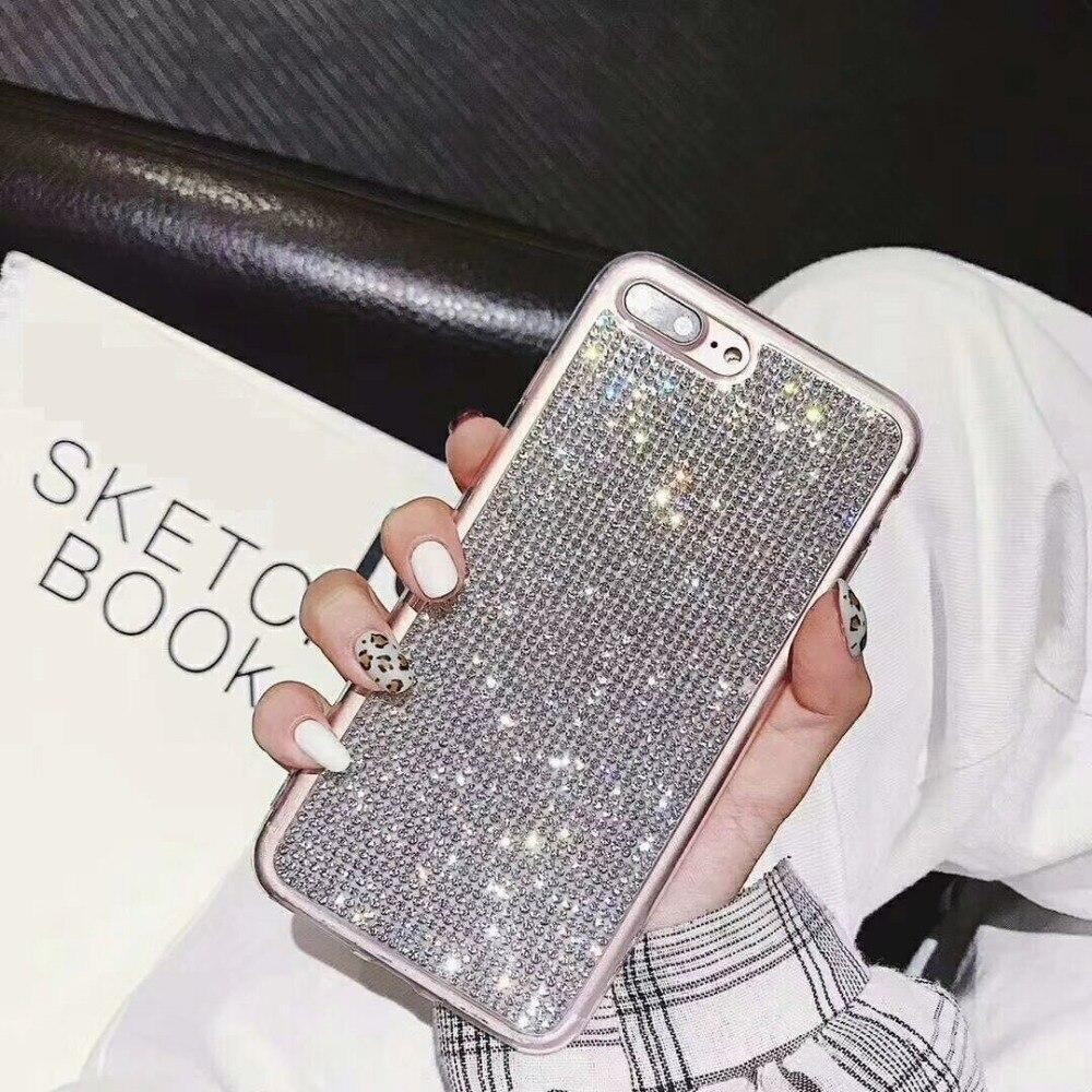 Luxury Rhinestone Case For Iphone Xs Max Cover Tpu Bling Glitter Soft Case For Iphone 8 Plus 7 8 6 6S Xs Xr X 10 Fundas Eemia