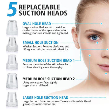 Blackhead Remover Face Clean Pore Vacuum Acne Pimple Removal Vacuum Suction Facial Diamond Dermabrasion Tool Machine Skin Care