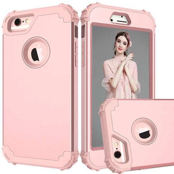 Shockproof Phone Cases For Iphone 6 6S 7 Plus Case Durable Pc+Tpu 3 Layers Hybrid Full Body Protect Anti-Knock Armor Phone Shell