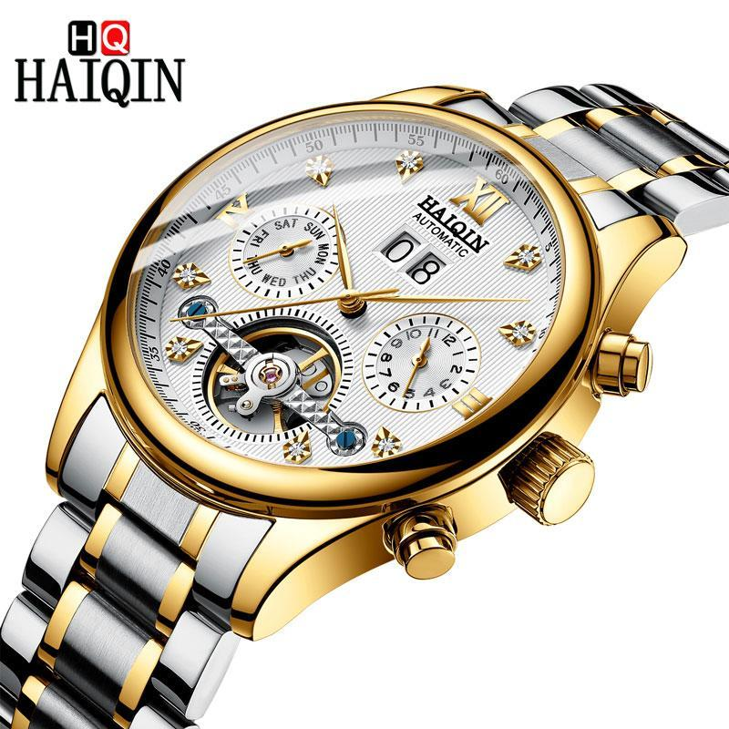 Haiqin Men Watch Luxury Business Automatic Mechanical Watch Men Leather Waterproof Male Wristwat Ch Calendar Self-Winding Clock