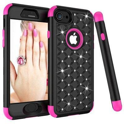 3-In-1 Impact Cover Hard&Soft Silicone Hybrid Case Universal For Iphone 6 6S 7 7 Plus 8 8 Plus Armor Phone Cases Bling Diamond