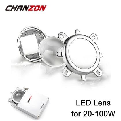 1 set 44mm LED Lens Optical Glass 60 degree + 50mm Reflector Collimator + Fixed Bracket For 20W 30W 50W 100W High Power COB Chip