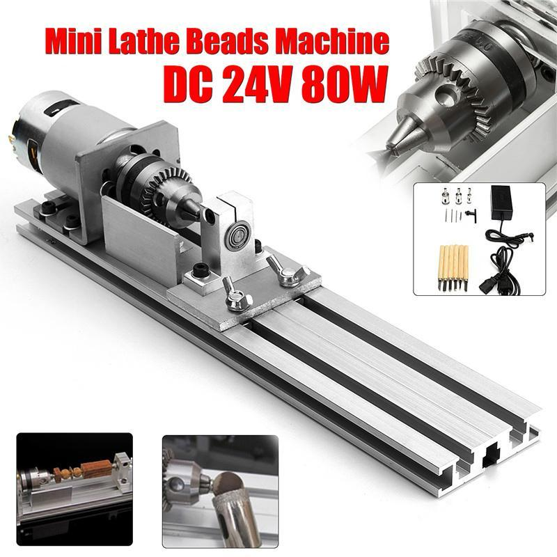 80W Mini Lathe Beads Machine Dc 24V Woodworking Diy Lathe Engraver Set Polishing Cutting Cutter Drill Rotary Tool + Power Supply
