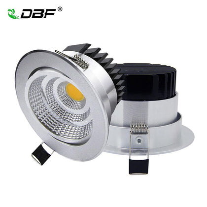 [DBF]Silver Ultra gorgeous Dimmable LED COB Downlight AC110V 220V 6W/9W/12W/18W Recessed LED Spot Light  Decoration Ceiling Lamp