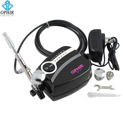 OPHIR Portable Dual-Action Airbrush Set with Mini Air Compressor 0.5mm Airbrush Kit for Cake Decoration Hobby Paint_AC094B+AC006