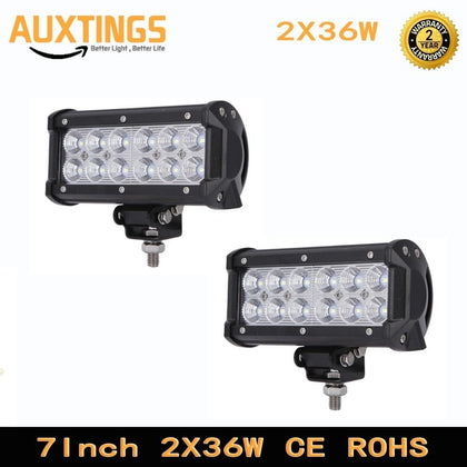 2PCS 7 INCH 36W LED LIGHT BAR SPOT FLOOD BEAM OFF ROAD SUV 4X4 WORK LIGHT LAMP FOR CAR TRACTOR BOAT MILITARY EQUIPMENT 12V 24V
