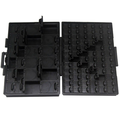 AideTek Box Organize anti-static ESD safe enclosure SMD SMT IC diode parts organizer transistor plastic toolbox black BOXALL96AS