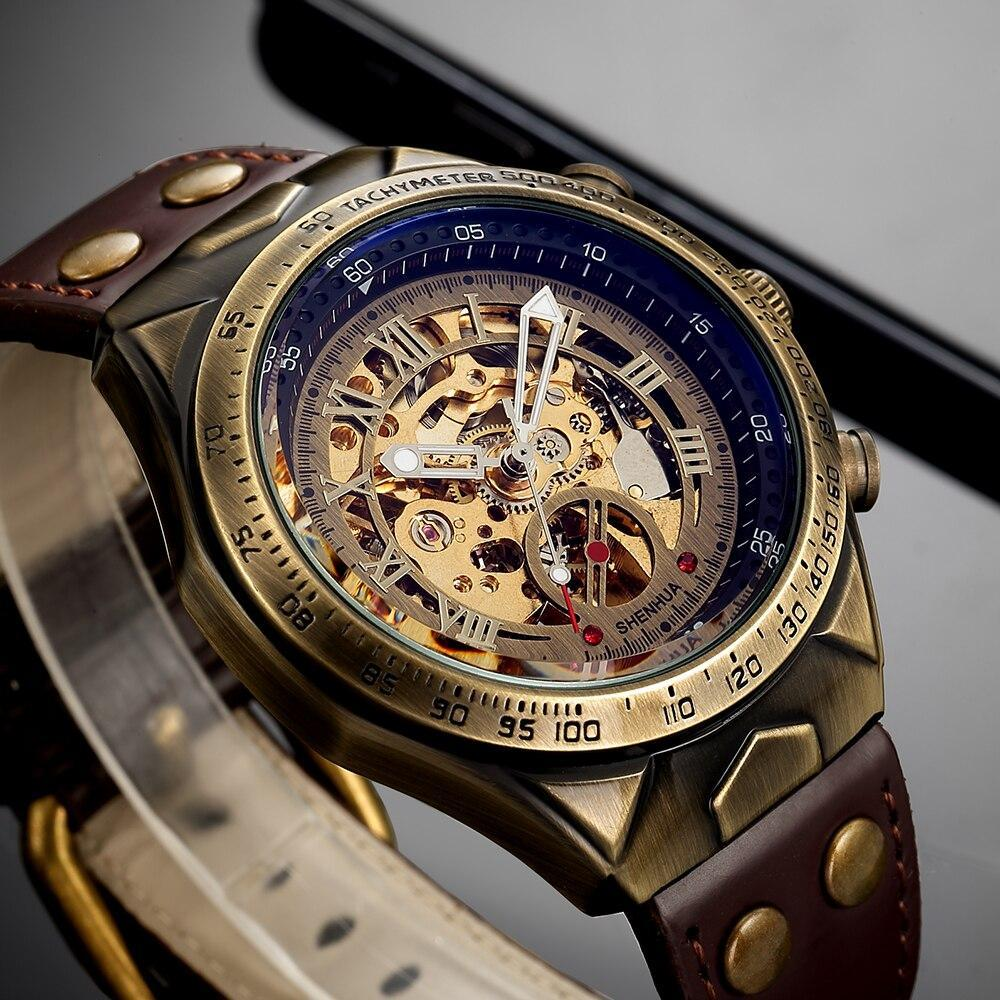 Shenhua Motorcycle New Design Transparent Genuine Bronze Belt Waterproof Skeleton Men Automatic Watches Top Brand Luxury Clock