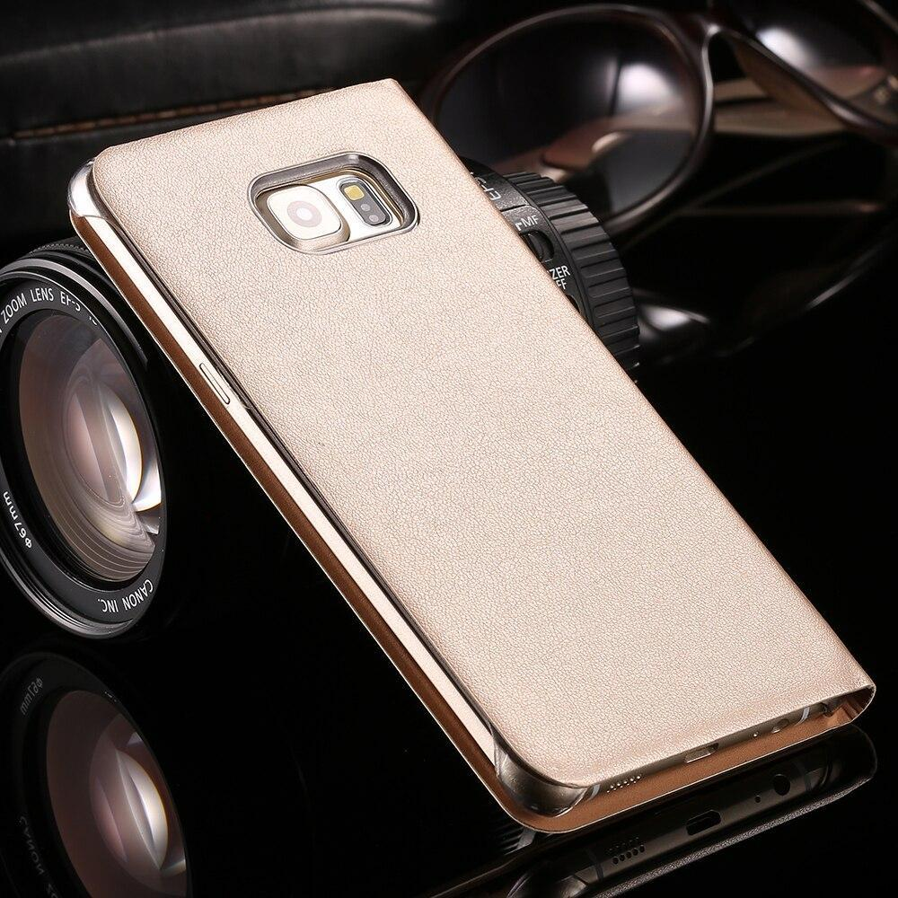 Ykspace High Quality Pu Leather Flip Case For Samsung Galaxy S6 S7 Edge S8 S9 Plus Note 8 9 Phone Cover Windows Clear View