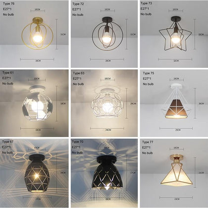 Led Ceiling Lights Modern Ceiling Lamp Vintage Plafondlamp Cage Plafonnier For Living Room Industrial Decor Suspension Luminaire