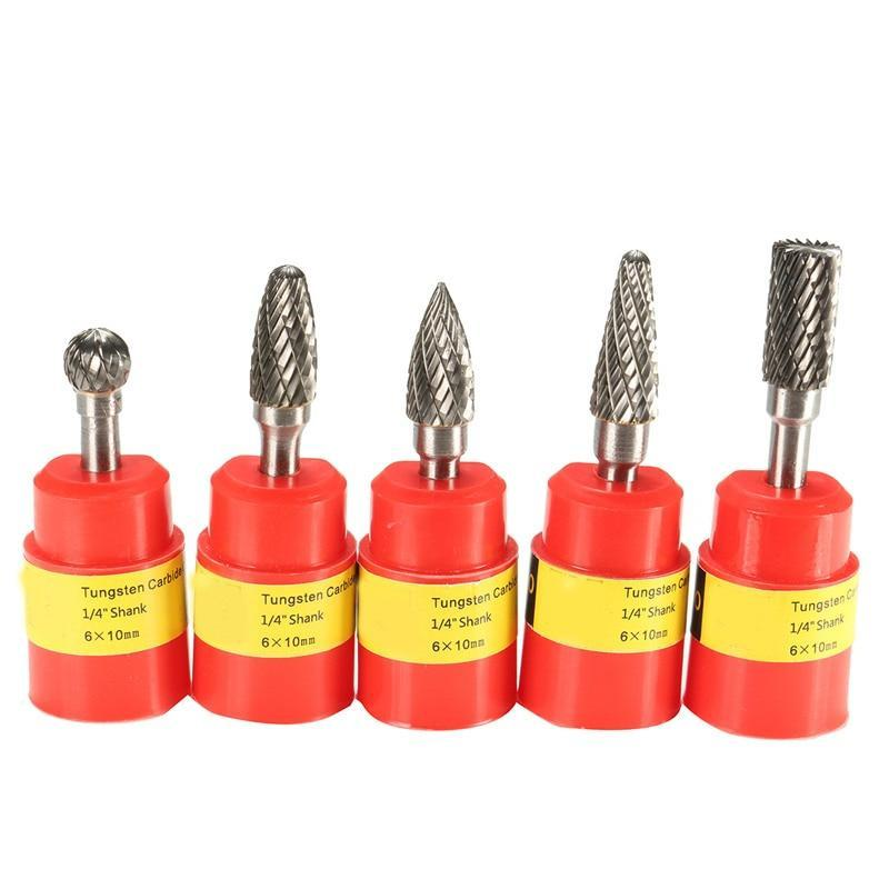 5Pcs 1/4 Inch 6Mm Head Tungsten Carbide Rotary Point Burr Milling Cutters Die Grinder Shank Set For The Mill