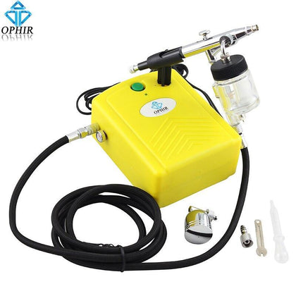 OPHIR 0.3mm Airbrush Spray Paint Gun with Air Compressor for Model Hobby Cake Painting Art & Craft Paint _AC034+AC005+AC011
