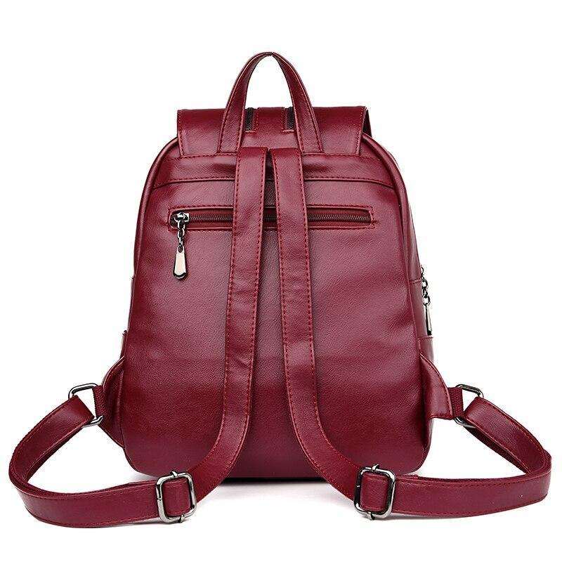 Casual Double Zipper Women Backpack Large Capacity School Bag For Girl Brand Leather Shoulder Bag 2018 Lady Bag Travel Backpack