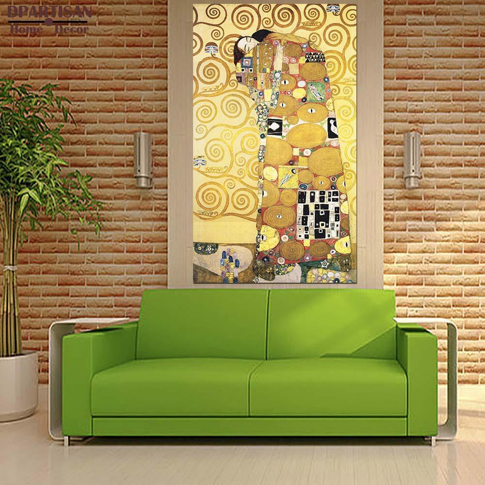 Dpartisan Oil Print Canvas Wall Art Decor Pictures Diferent Kiss By Gustav Klimt Wall Painting Art No Frame Oil Painting Print