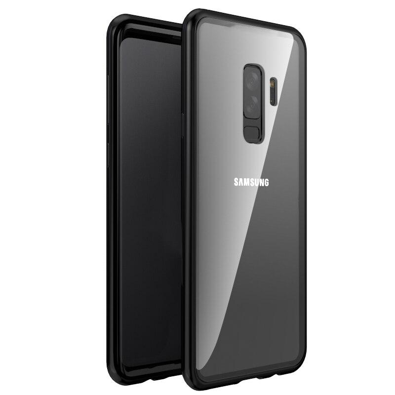 Magnetic Adsorption Phone Case For Samsung Galaxy S9 S8 Plus Note 9 8 Metal Magnet Screen Protector Tempered Glass Flip Cover