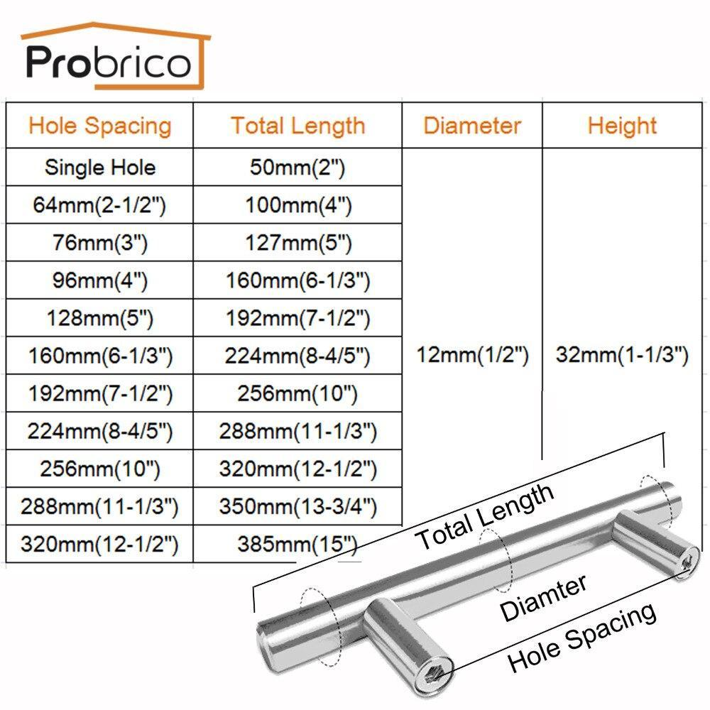 Probrico 50Pcs Cabinet T Bar Handle Diameter 12Mm Cc 50Mm~320Mm Stainless Steel Furniture Drawer Knob Kitchen Cupboard Door Pull